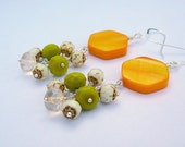 Yellow Mother Of Pearl Earrings With An Added Cluster Of Czech Glass - BeadsMe