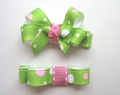 LiliBug Spring Green and Pink Dot Bow and Clippie Set - LiliBugBoutique