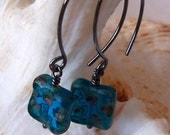 Dark Aqua Blue on Oxidized Sterling Silver Wire - mompotter