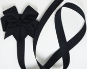Free USA Shipping Over 20 - Solid Black or Any Color Hairbow Holder with Large Size Tails Down Boutique Hair Bow - HairbowDepot