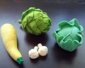 Felt Vegetables IV - Lettuce Cabbage Artichoke Yellow Squash Cauliflower (Patterns and Instructions via Email) - umecrafts