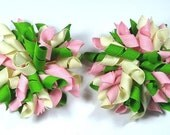 Boutique Set of 2 Green Apple Pink Cream Korker Hair Bows Hair Clip - prettybowtique