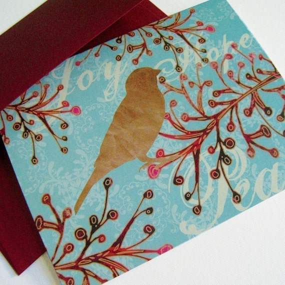 Greeting Card set of 8 - Cranberry Bird Branch - Peace, Joy, Hope