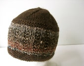 hand knit brown wool and silk hat - beaconknits