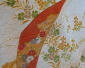 Elegant floral Japanese kimono damask fabric  14x46 inches - KIMONOCARDS