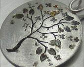 Reversible Round Spring Blooming Silver Tree Pendant - By Beth Millner - BethMillner