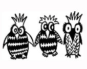 Owls notecards, set of 10 - karmabee