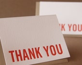 Letterpress Thank You Cards : Fire Red Modern Block Thank You Notes - box of 50 small folded cards w envelope color choice - RubyPress