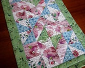 Quilted Cotton Table Runner - Diamond Design Blue Green Rose Floral - kimbuktu