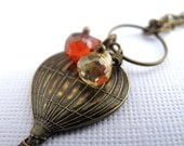 Up In The Air Necklace - Vintage Style Antique Brass Hot Air Ballon Charm, Czech Crystals