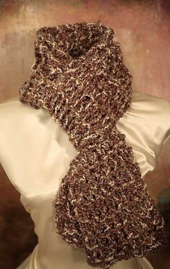 Mens hand knitted brown white scarf by bluebirdsandblossoms Hand Knitted Men's Scarves