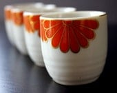 Vintage Sake Cups - Four Matching Cups with Orange and Gold Flower Design - jillhannah