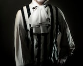 Vertigo Vest by Kambriel - Black and Ivory Velvet Striped Shantung - kambriel