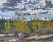 "Fournier Appalachian Plein Air Oil Painting Quebec Canada "" The Golden Larch "" 10"" x 12"" - Fournierpainter"