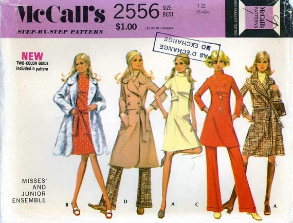 McCall's 2556 dress coat, pants sewing pattern Bust 34