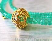 Genuine Columbian Emerald 22.15ct-Rose Cut Diamond Pendant-18k-20k Solid Gold Necklace
