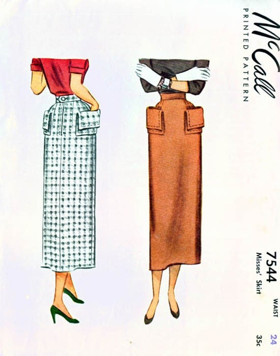 Vintage 1940s McCall 7544 Rockabilly Pencil Skirt Sewing Pattern Waist 24