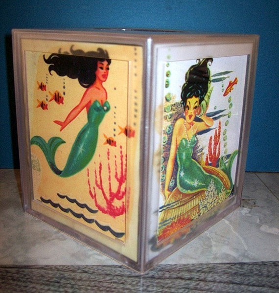 mermaid tissue box- retro vintage 1950's pin ups rockabilly