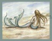 Seaside Beach Mermaid Print from Original Watercolor Painting by Camille Grimshaw - camillioncreations