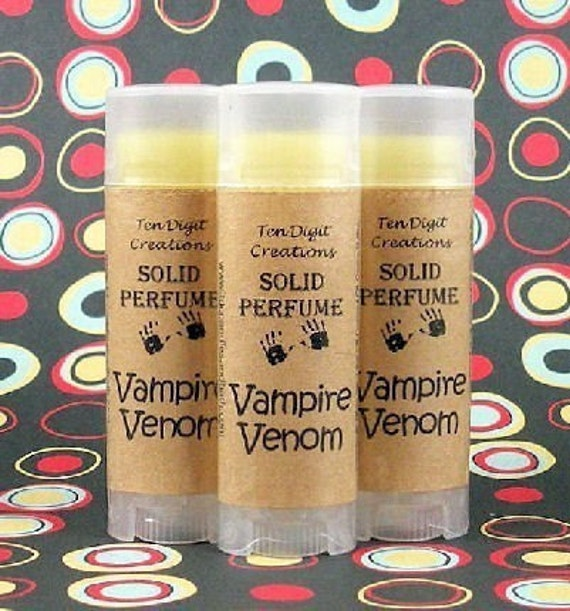 VAMPIRE VENOM Solid Perfume with Cocoa Butter and Vitamin E - .15oz Oval Tube (honey, chocolate, caramel, vanilla, patchouli, sandalwood)