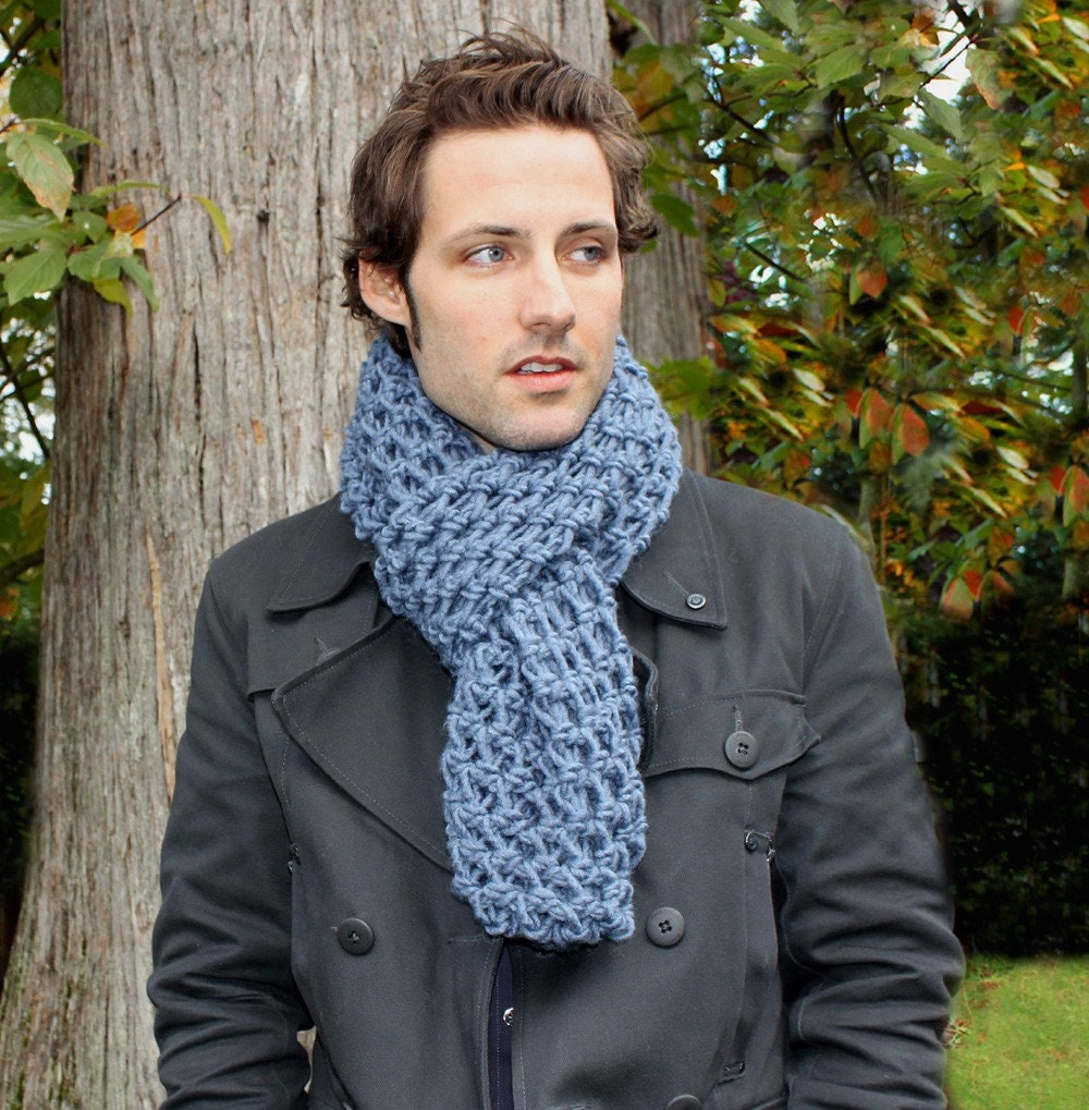 Mens Cowl hood Scarf Neck Warmer Jean Blue by BessetteArt on Etsy Cowl Neck Scarves Men