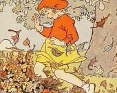 Autumn Leaves - 4 Assorted Cards - Playing in the Leaves - Reincarnated from Vintage Children's Illustrations - StoriesDivinations
