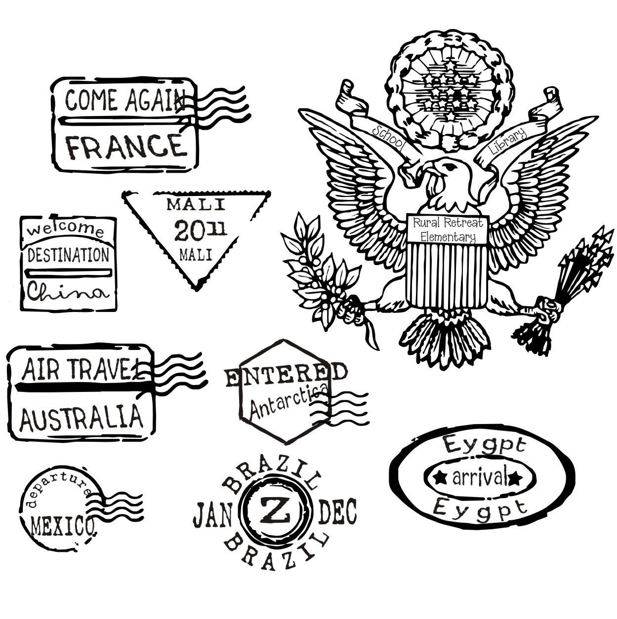 Passport Stamps in Color or Black and White Clip Art Set ...