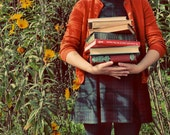 Book Portrait,  8x10 Photograph, September,  School Girl with Books Print - ellemoss