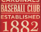 St Louis Cardinals  baseball typography graphic word art on canvas 10 x 20 by stephen fowler - geministudio