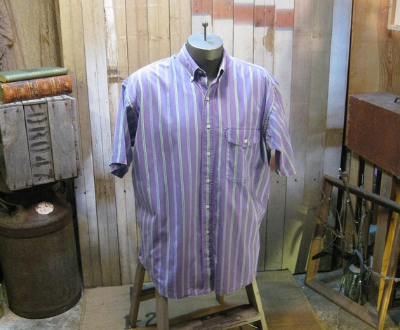 Gant Purple vintage shirt Preppy button down cotton half sleeve L