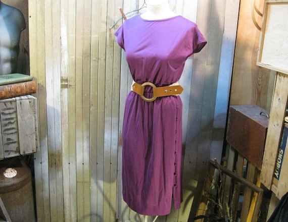 Purple dress Vintage 1970s boho  faux wrap sleeveless Small Medium