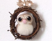 Needlefelted Barn Owl Mini Autumn Wreath with Felt Bird - feltmeupdesigns