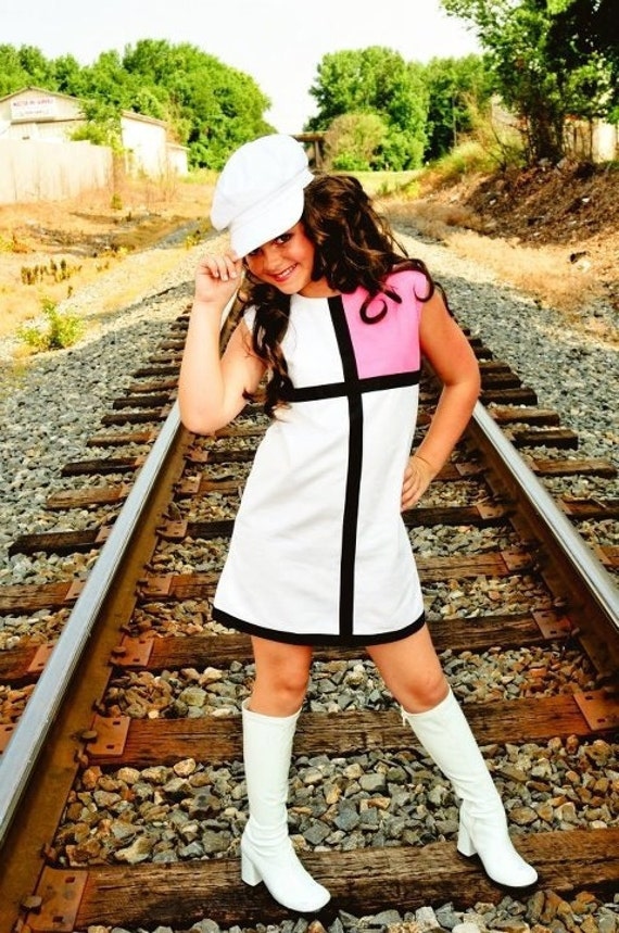 Retro 1965 Inspired  Red or Pink color block dress-children clothing-girls
