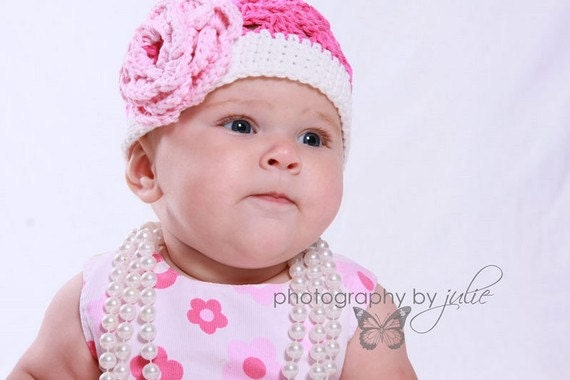Crochet Hat  Hot Pink with Pastel Pink flower Cotton