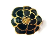 Vintage button dark blue flower enamel metal, 23mm