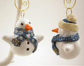 Christmas Snowman Ornaments Polymer Clay Holiday - DragonStarArt