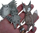 Articulated Paper Dolls Woodland Creatures Owl Fox Raccoon - jenniferbaughan