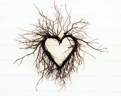 Tree branches love heart - Valentines day - photograph natural  rustic wedding marriage white cottage chic Photograph 8x10 Wild Heart - LupenGrainne
