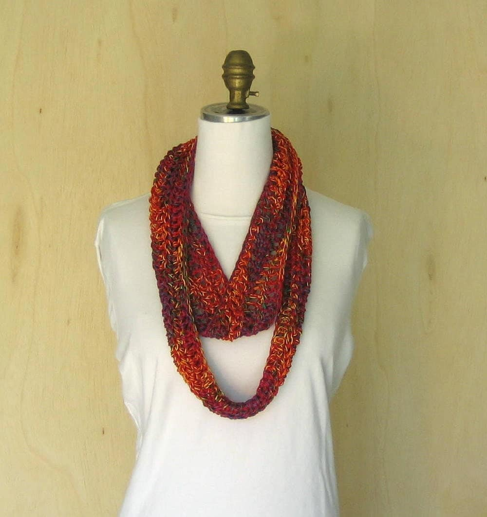 bright multi colored hand crocheted cowl neck scarf from elibet Cowl Neck Scarves Crochet