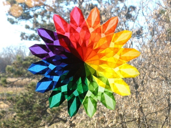 Rainbow Poppy Sunburst Window Star with 16 Points