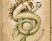 Coffee Mermaid  by Renae Taylor .......unmatted 11x14 - renaeleataylor