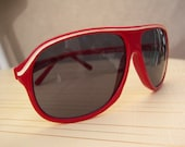 Vintage aviator sunglasses / red racing stripes / 60s mod eyewear - dahlilafound