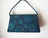 vintage brocade handbag / midnight blue florals - dahlilafound