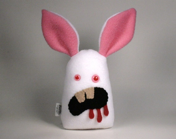 Stuffed Killer Rabbit Albino Bunny Plush READY TO SHIP