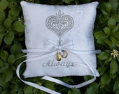 Ring Bearer Pillow Embroidered White Brocade - HuzzahHandmade