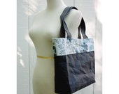 CARTA Tote Bag in Black with Vintage Barkcloth Lining - HuzzahHandmade