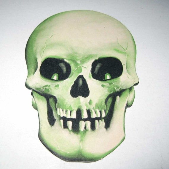 Vintage Miniature Halloween Die Cut Cardboard Skull Decoration by Dennison