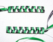 Braided Ribbon Barrettes in Green, Black, and White - WinningWreaths