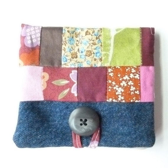 Womens Organizer Wallet - Fabric Recycle Wallet - Card Credit Wallet - Denim Patchwork Womens Wallet