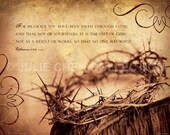 Scripture Art, Inspirational Art, Bible Verse Art, Christian Art, Easter Art - GRACE (Ephesians 2:8-9) 8x10 Fine Art Print